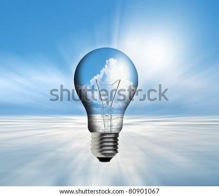 art work of landscape in the light bulb