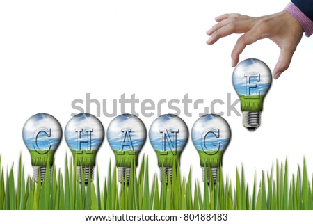 art work of wording concepts from nature background in the light bulb