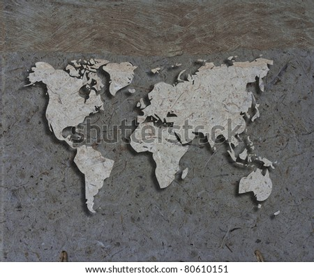 art work of world map made from paper texture