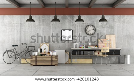 Art workshop in industrial  style with painting tools- 3d rendering