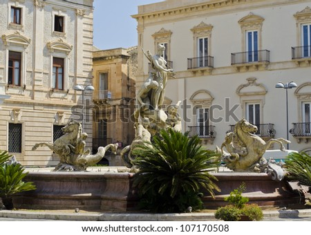 Artemide Fountain in Siracusa - Sicily, Italy