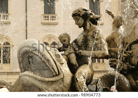 Artemide fountain. Syracuse (Siracusa, Sarausa)-- historic city in Sicily, Italy