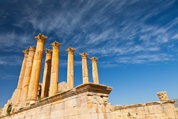 Artemis or Diana temple in Jerash Greco-Roman city or Pompeii of the East in northern Jordan, the Middle East, Asia