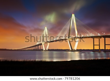 Arthur Ravenel Jr Cooper River Suspension Bridge Charleston SC from Patriots Point South Carolina
