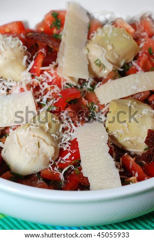 Artichoke heart salad  (ingredients:red bell-pepper,parmesan cheese,sundried tomato,fresh tomato and dill with olive oil and lemon juice)