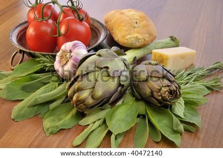 Artichoke, herbs and other mediterranean raw ingredients