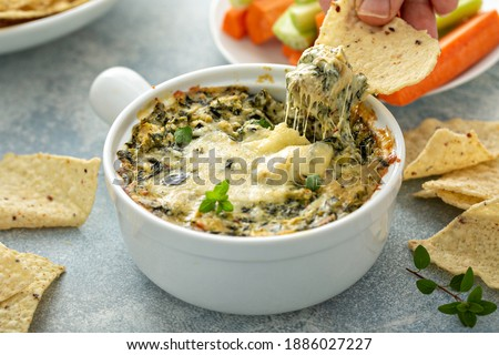 Artichoke spinach dip in a baking dish with a cheese pull Сток-фото ©