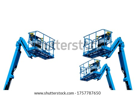 Articulated boom lift. Aerial platform lift. Telescopic boom lift isolated on white. Mobile construction crane for rent and sale. Maintenance and repair hydraulic boom lift service. Crane dealership.