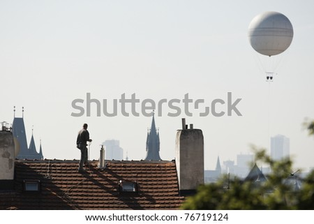 Artificer on the roof, Prague, Czech Republic - stock photo
