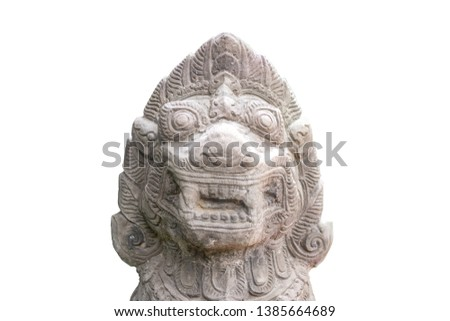 Artificial ancient lion sculpture made from stone by carving