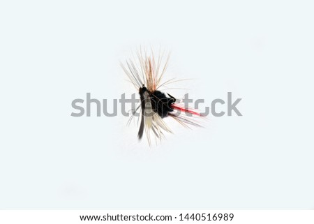 Artificial  black and white fly fishing fly