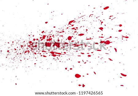 artificial blood splatters  on white background