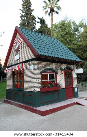 artificial candy house in national park of athens greece for christmas celebration