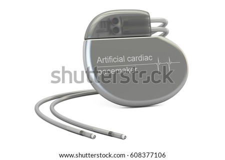 Artificial cardiac pacemaker, 3D rendering isolated on white background