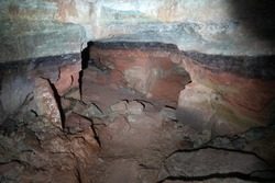 artificial cave under earth journey. wild cave, forgotten passages deep underground