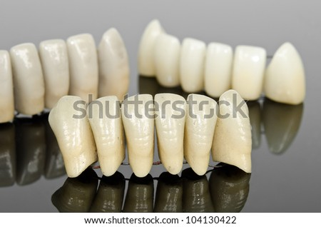 artificial ceramic front teeth, lower jaw