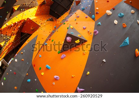 artificial climbing wall in an...