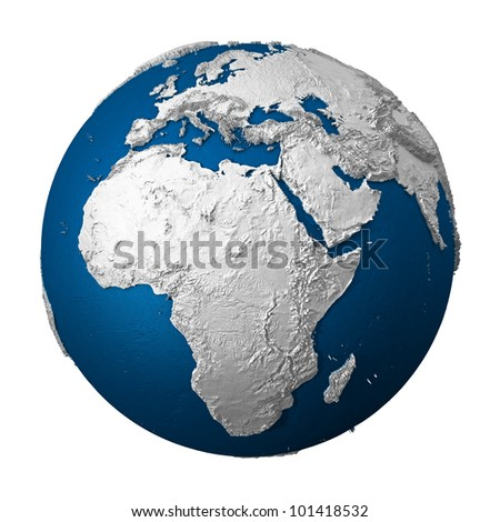 Artificial Earth - Africa. White lands and blue oceans. Detailed surface. 3d render