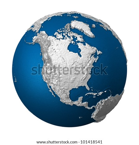 Artificial Earth - North America. White lands and blue oceans. Detailed surface. 3d render