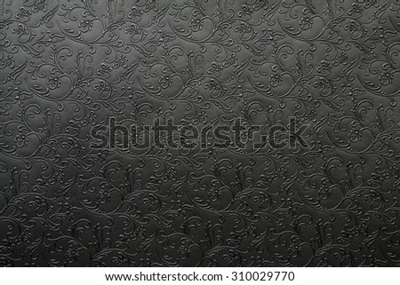 Artificial fabric texture Black with floral classy pattern #310029770