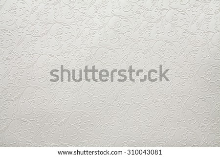 Artificial fabric texture White with floral classy pattern #310043081
