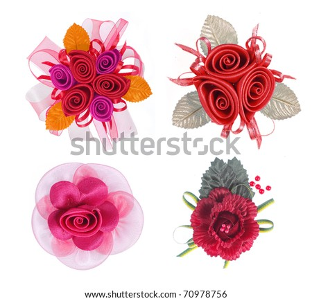 artificial Flower collection isolated on white background