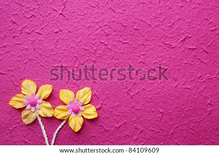 Artificial flower on mulberry pink