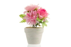 artificial flower pot isolated on white background