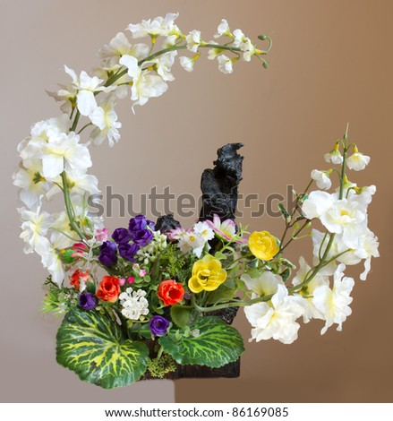 Artificial flowers, beautifully decorated sphere.