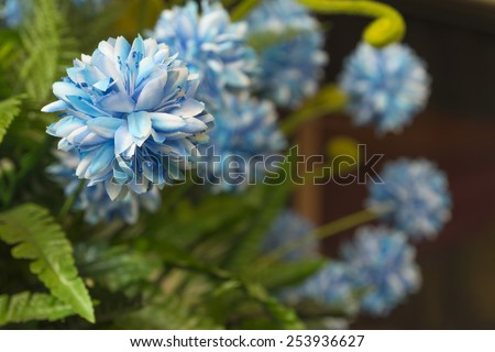 artificial flowers two tone light blue and white Home Decor