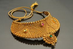 Artificial gold jwellery - neckless with stones