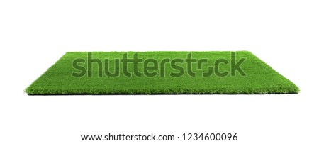 Photo of  Artificial grass carpet on white background. Exterior element