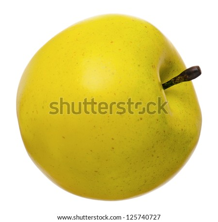 Artificial green apple, isolated on white background