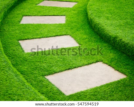 artificial green grass walk way ...