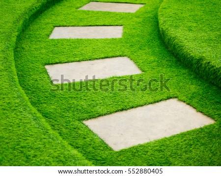 artificial green grass walk way ...
