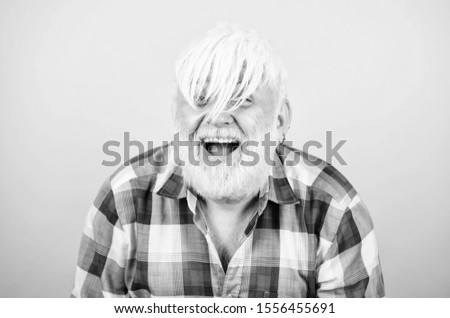 Artificial hair. Health care concept. Male pattern baldness genetic condition caused by variety factors. Early signs balding. Elderly people. Bearded grandfather grey hair. Hair loss. Man losing hair.