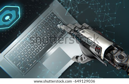 Artificial hand of robot working with laptop. 3D illustration
