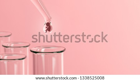 Artificial insemination. Test tube baby, IVF. On the tip of the pipette drop with silhouette of the embryo of the child, dripping into the test tube