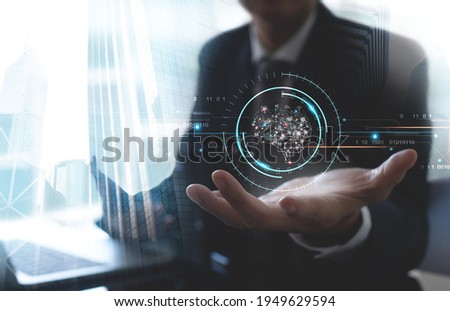 Artificial intelligence (AI), Business Intelligence (BI), modern computer technologies, Internet of Things IoT, digital marketing concept, brain representing artificial intelligence on virtual screen