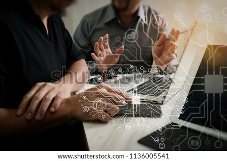 Artificial Intelligence (AI),machine learning with data mining technology on virtual dachboard.Business team meeting. Photo professional investor working new start up project. Finance task.