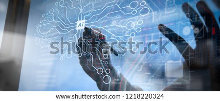 Artificial Intelligence (AI),machine learning with data mining technology on virtual dachboard.Double Exposure,Businessman hand working concept. Documents finance graphic chart.