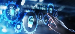 Artificial intelligence AI Neural network deep machine learning concept.