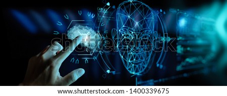 Artificial intelligence (AI) with machine deep learning and data mining and another modern computer technologies UI by hand touching low poly icon. #1400339675