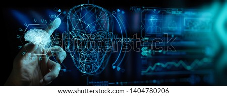 Artificial intelligence (AI) with machine deep learning and data mining and another modern computer technologies UI by hand touching low poly icon. #1404780206