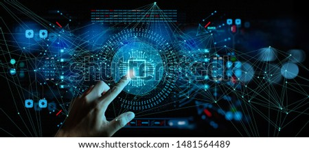 Artificial intelligence (AI) with machine deep learning and data mining and another modern computer technologies UI by hand touching CPU icon.