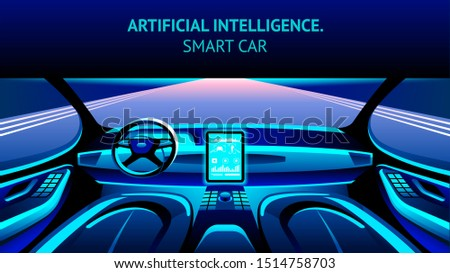 Artificial Intelligence Car Cockpit with Road View. Autonomus Vehicle Banner Illustration. Automated Unmanned Future Transport with Innovation Monitor Driving System Inside.