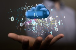 Artificial Intelligence Cloud technology. Integrated digital web concept background