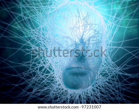 Artificial intelligence concept - abstract face build out of strings