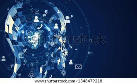 Artificial intelligence concept. Cloud computing. Deep learning.