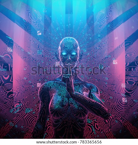 Artificial intelligence concept / 3D illustration of female AI with secret